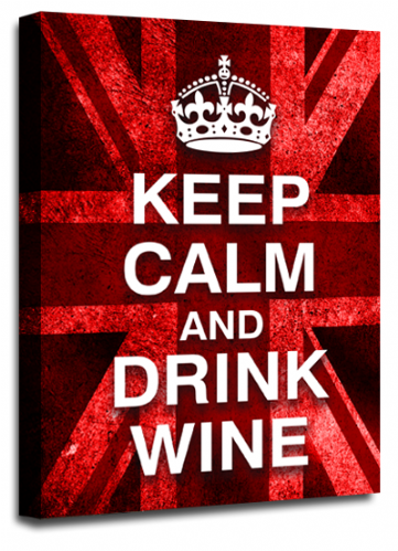 Keep Calm Drink Wine Wall Art Red White British Flag